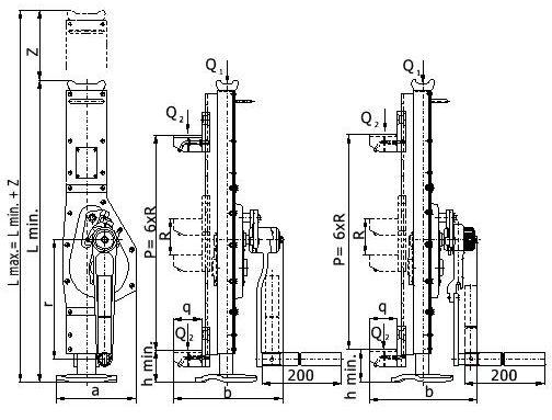 Hřebenový zvedák BRANO - VK-RK - s račnoklikou a přestavitelnou opěrou