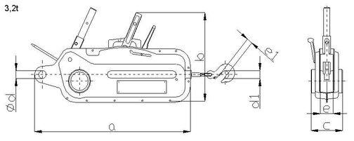 Lanový zvedák BRANO - typ 30-11, nosnost 3200kg