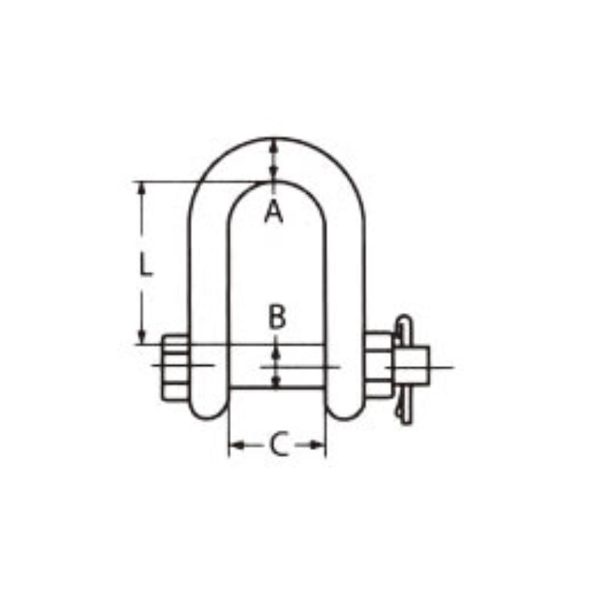 Nerezový třmen rovný s maticí a závlačkou AISI316-A4