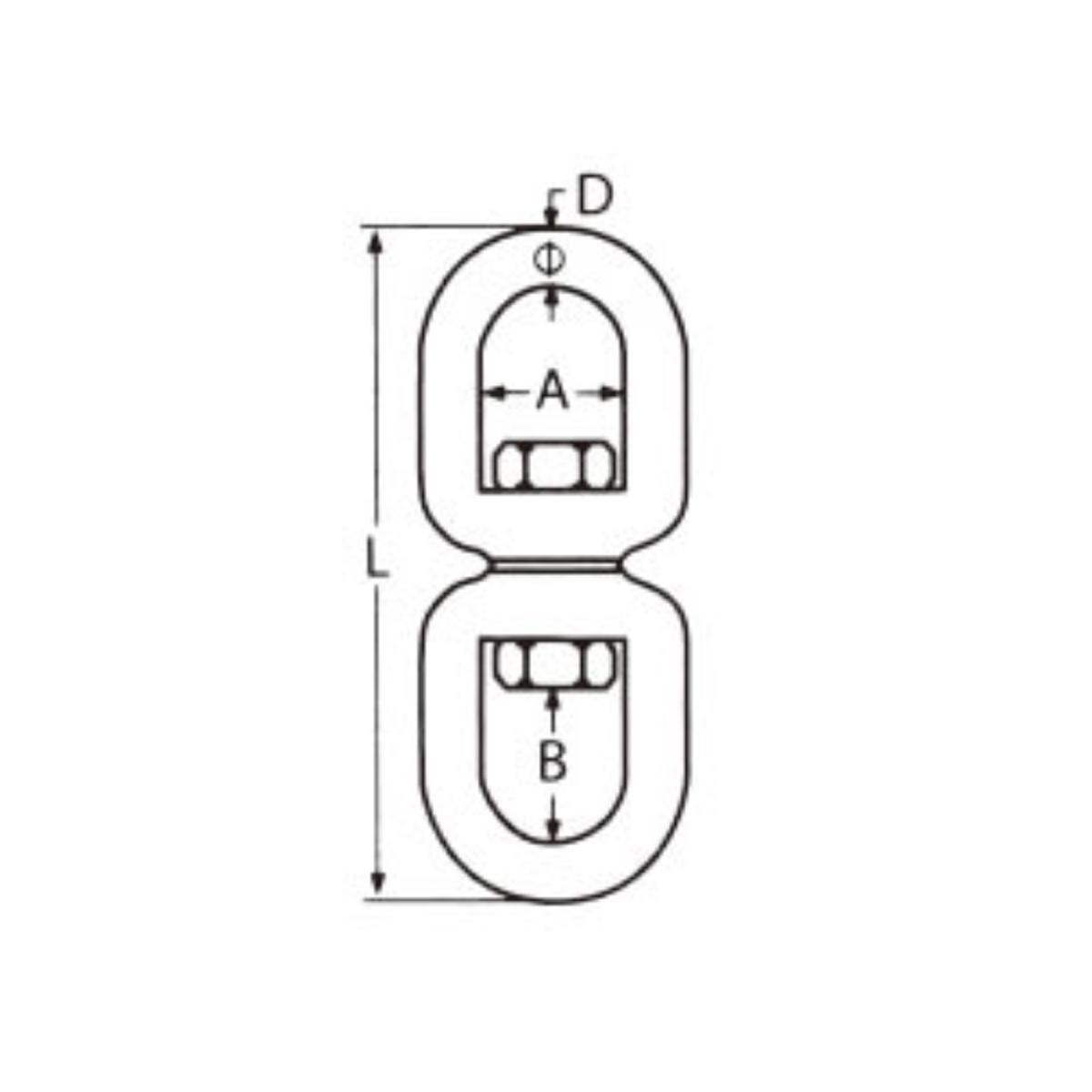 Nerezový obrtlík oko-oko - AISI316