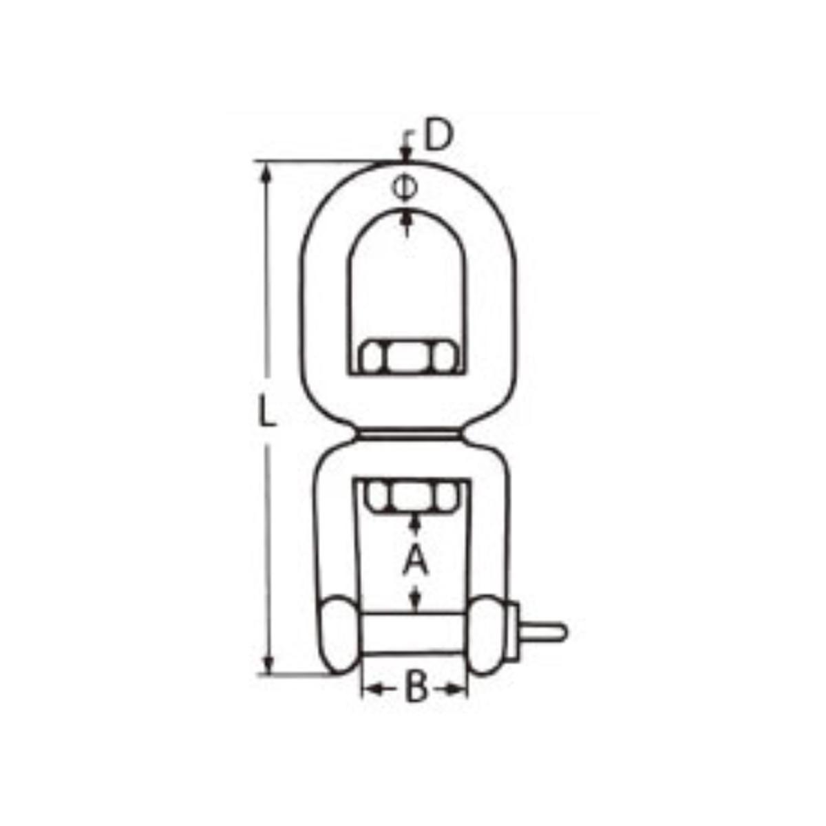 Nerezový obrtlík oko-vidlice - AISI316