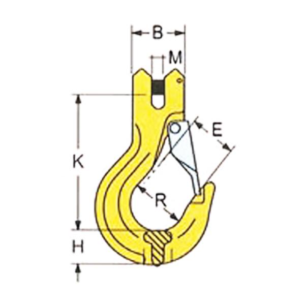 Hák s vidlicí, třída 8, žlutě lakovaný - FORANKRA