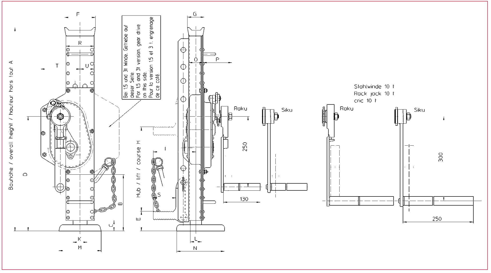 Ocelový zvedák HAACON, typ 1188 se stavitelnou patkou, 1000kg - 10000kg