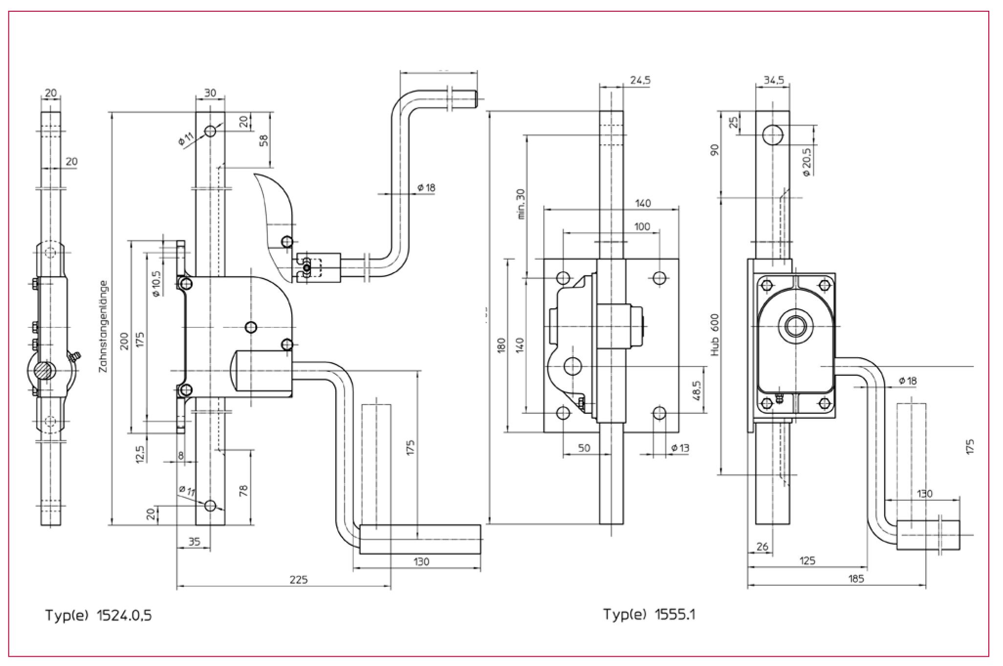 Hřebenový zvedák HAACON. typ 1524 a 1555 se šnekovým převodem
