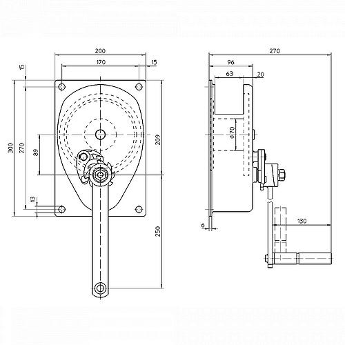 Ruční lanový naviják HAACON  typ 220 - 300kg a 500kg