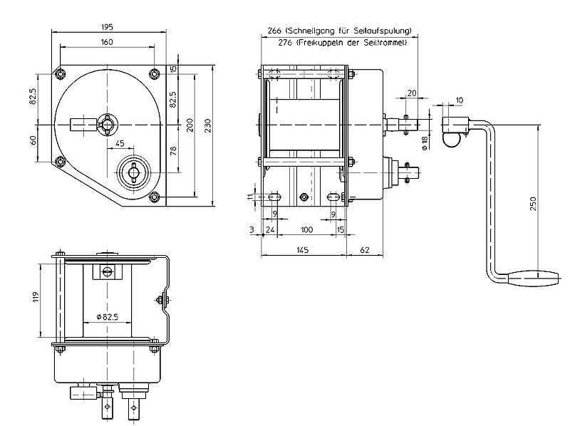 Nerezový ruční lanový naviják HAACON typ 4202 - 500kg