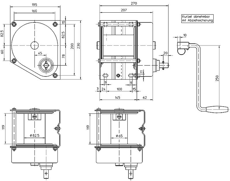 Nerezový ruční lanový naviják HAACON typ 4585 - 500 a 750 kg