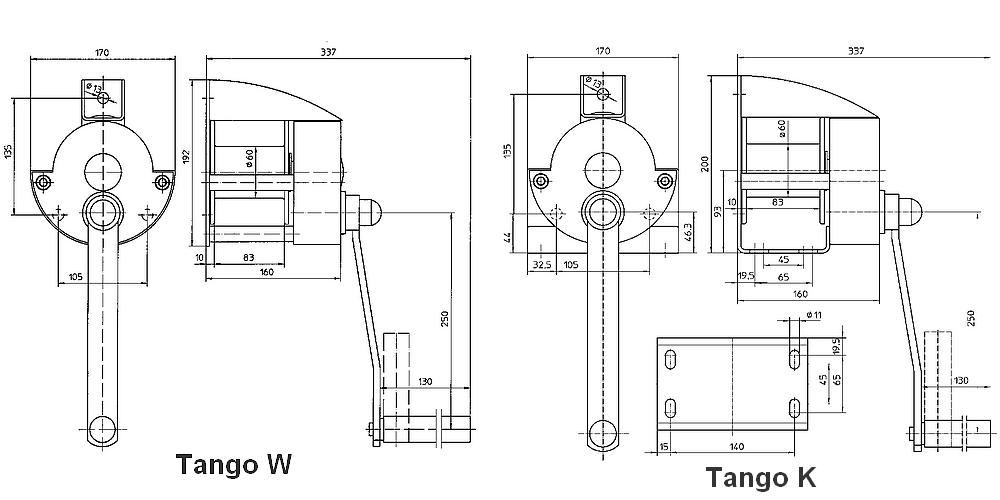 Ruční lanový naviják KV/KE/WV/WE 300 TANGO - rozměry