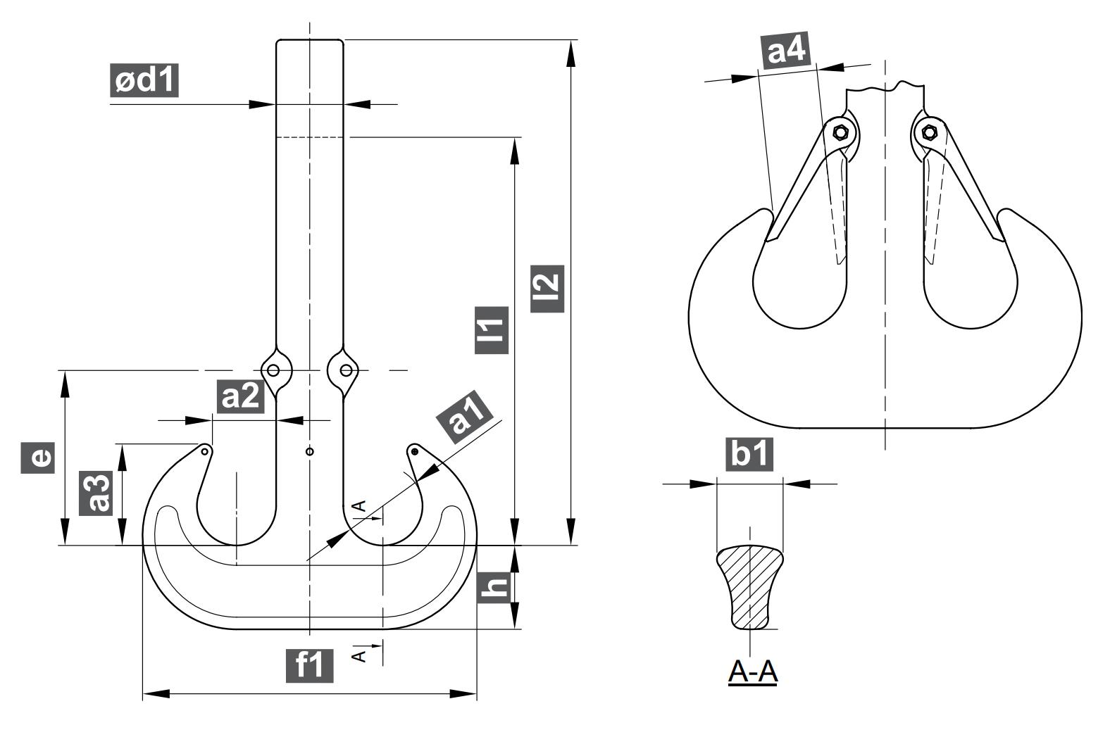 Dvojitý jeřábový hák RSN - DIN 15402, výkovek bez závitu, s pojistkou, třída V