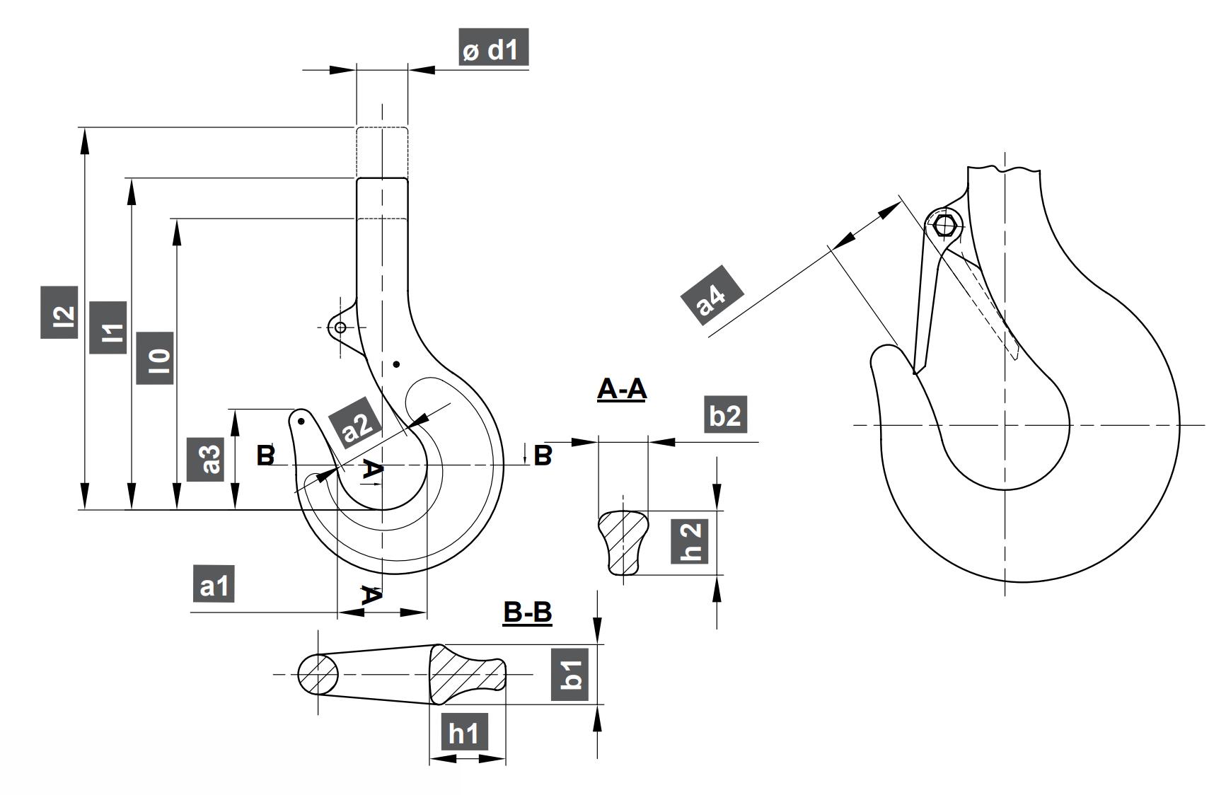 Jednoduchý jeřábový hák RSN - DIN 15401, výkovek bez závitu, s pojistkou, třída P