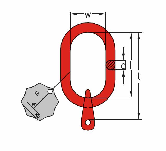 A1 - Závěsná hlava pro jednopramenné řetězové vazáky -DIN 5688-3, třída 8