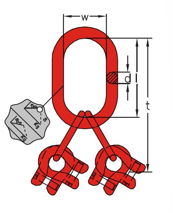 A4 - Závěsná hlava pro čtyřpramenné řetězové vazáky -DIN 5688-3, třída 8