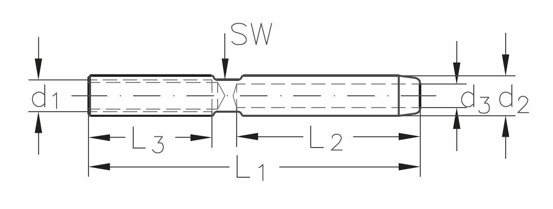 ASS - Nerezová závitová koncovka - MINI - s vnitřním pravým závitem