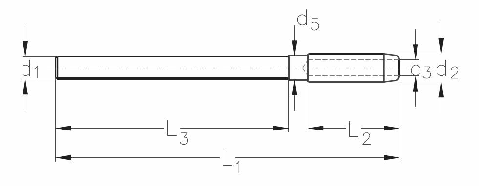 ASS - Nerezová závitová koncovka KW - MINI - s dlouhým pravým závitem