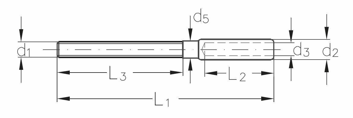 ASS - Nerezová závitová koncovka -SUPER MINI - s levým dlouhým závitem