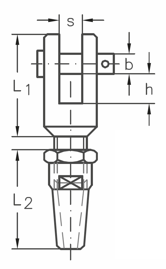 ASS - Nerezová koncovka k montáži, s vidlicí - A2