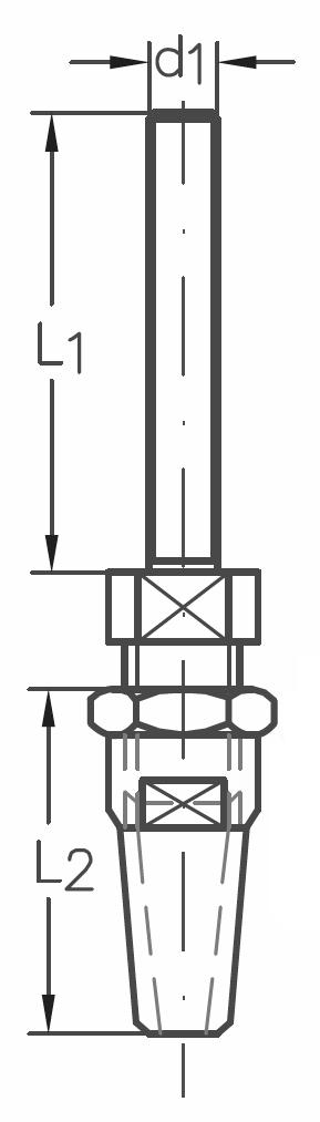 ASS - Nerezová koncovka k montáži, s pravým vnějším závitem - A2