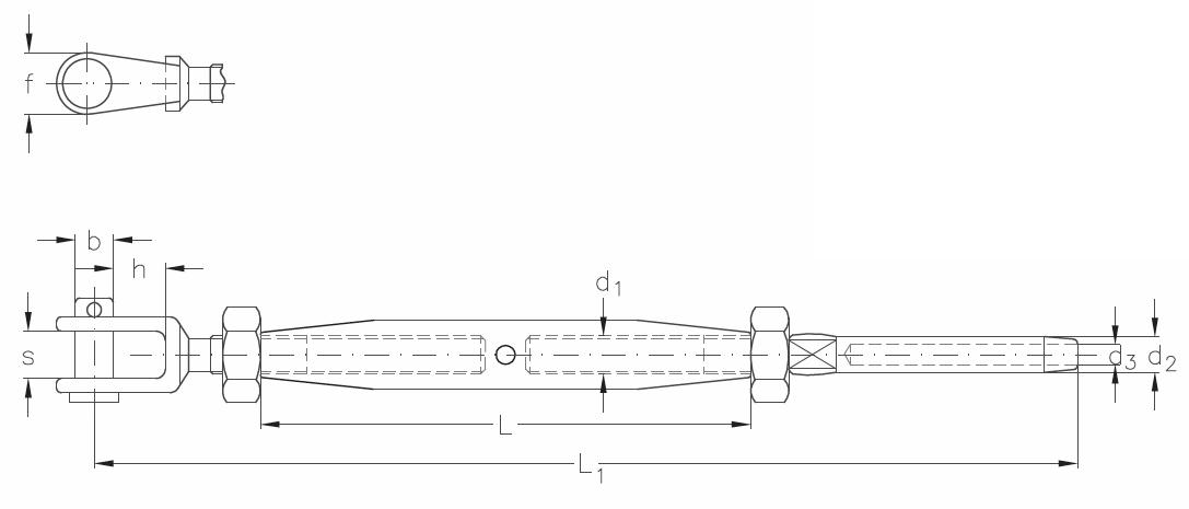 ASS - Nerezový napínák s vidlicí a koncovkou - STANDARD