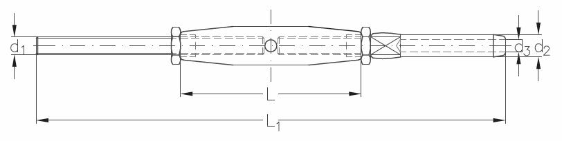 ASS - Nerezový napínák se závitovou tyčí a koncovkou - M
