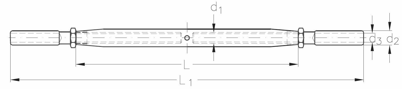 ASS - Nerezový napínák se 2 koncovkami k válcování - SUPER MINI