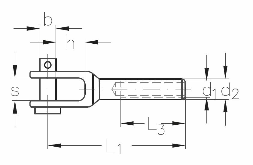 ASS - MINI - nerezová vidlice s vnitřním levým závitem