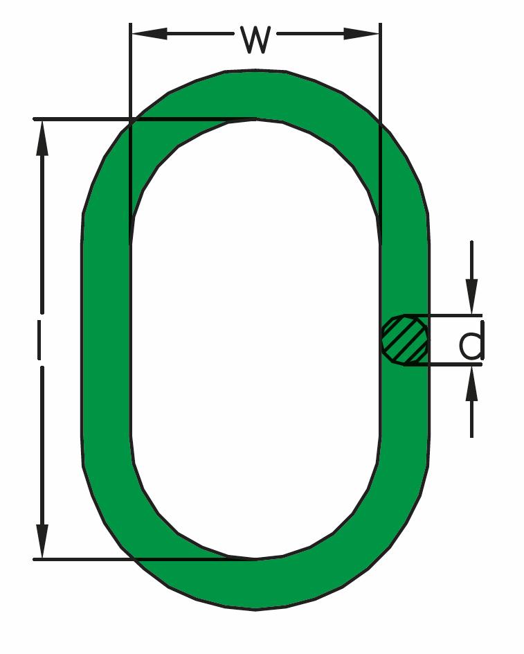Závěsný člen H, zelený, pro 1- a 2-pramenné vazáky, třída 8