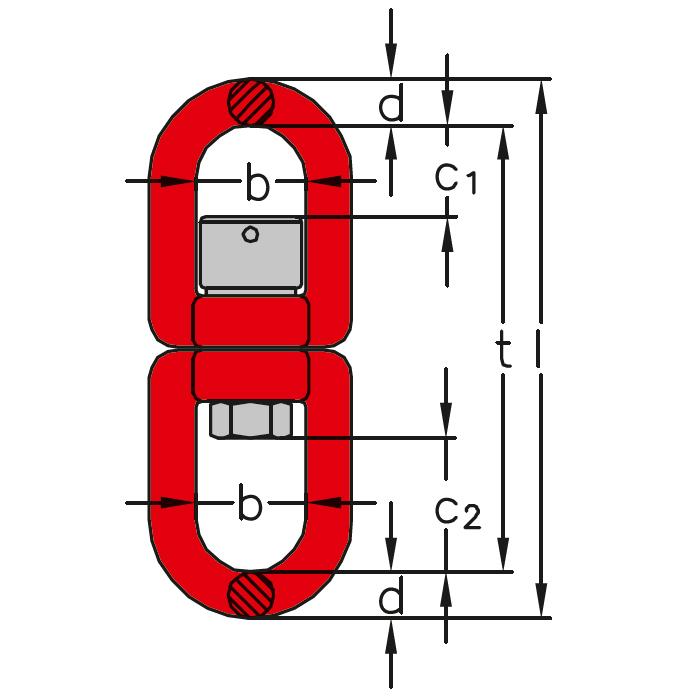 KLW - Obrtlík s pojistkou a kuličkovým ložiskem, třída 8, červený lak