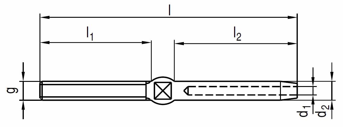 Nerezová závitová koncovka s maticou, AISI 316 (A4)