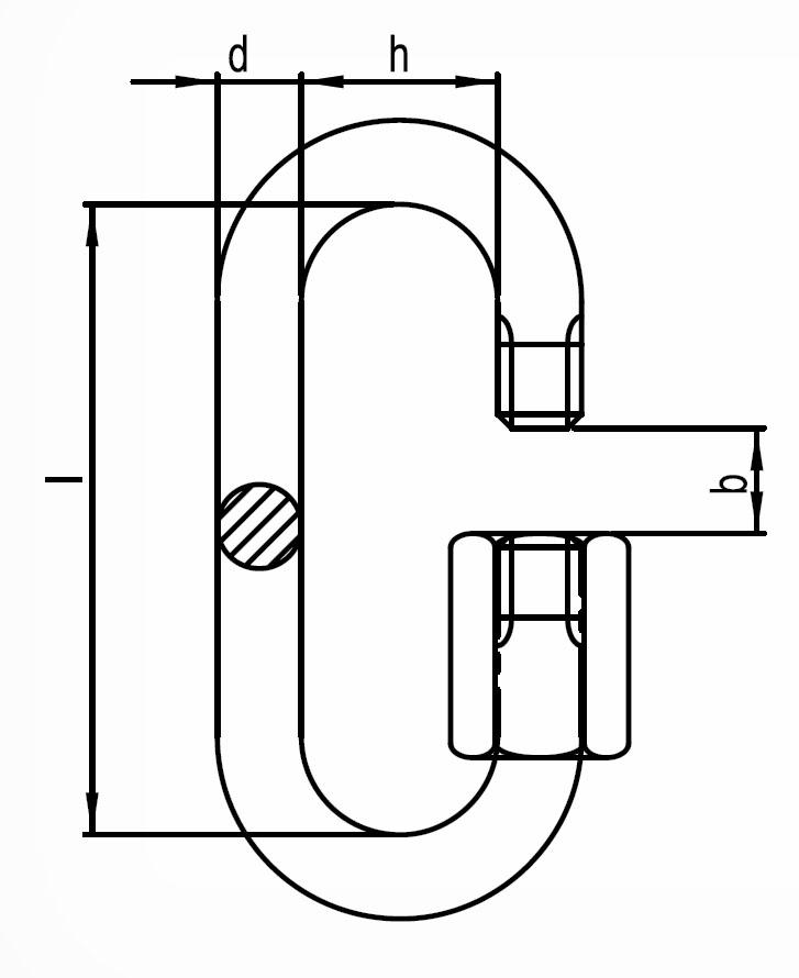 Reťazová rýchlospojka, s rozmermi odpovedajúcimi DIN 56927 - Form A, pozinkovaná