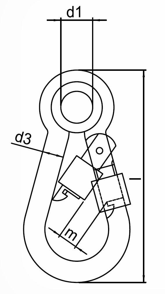 Požární karabina s rychlouzávěrem a očnicí pozinkovaná