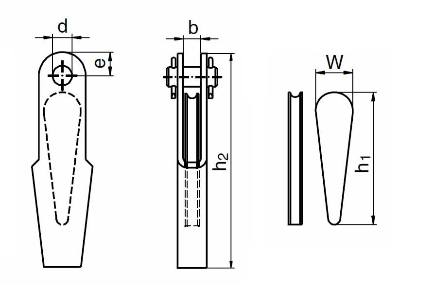 Lanový zámek DIN 15315 včetně čepu, pozinkovaný