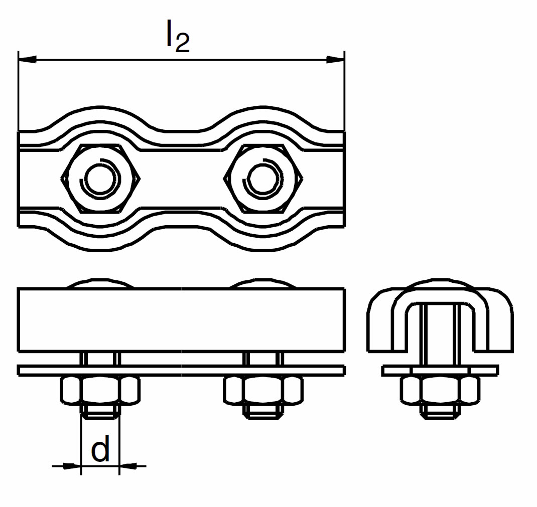 Nerezová lanová svorka DUPLEX, s 2 šrouby, AISI 316 ( A4 )
