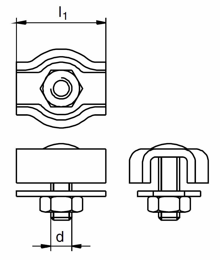Nerezová lanová svorka SIMPLEX s 1 šroubem, AISI 316 ( A4 )