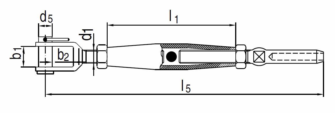 Nerezový napínák vidlice-koncovka, AISI 316 (A4)