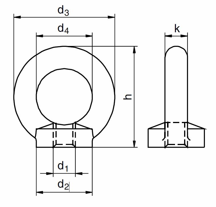 Matice s okem podobná DIN 580, vysokopevnostní třída 8, metrický standardní závit.