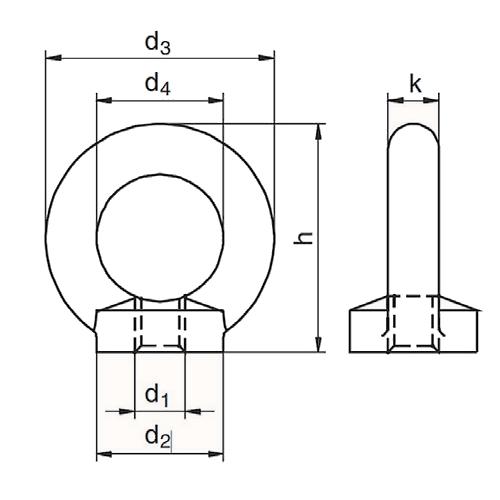 Matice s okem dle DIN 582, nerezová, materiál A4 - AISI316, metrický standardní závit