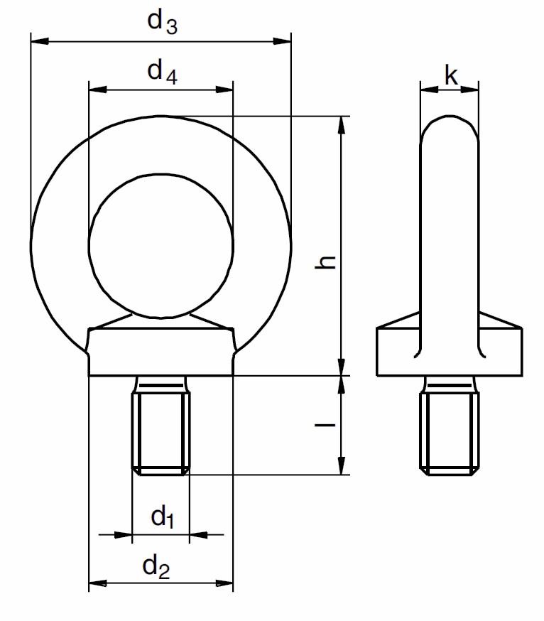 Šroub s okem podobný DIN 580, vysokopevnostní třída 8, metrický standardní závit