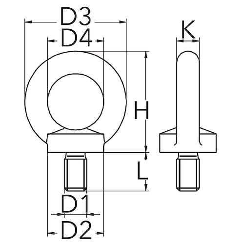Šroub s okem dle DIN 580, pozinkovaný, metrický standardní závit, materiál C15E