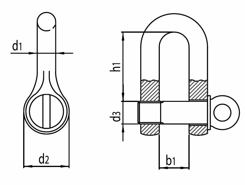 Třmen kovaný rovný, pozinkovaný