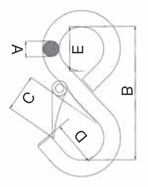 S-hák uzavřený prodloužený, tř. 8, typ-175, s 1 pojistkou, červený lak