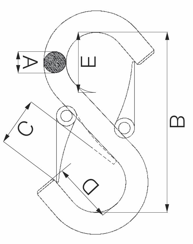 S-hák otevřený prodloužený, tř. 8, typ-173 se 2 pojistkami, červený lak