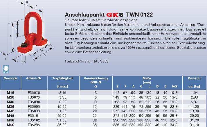 Vázací bod TWN 0122 - k šroubování