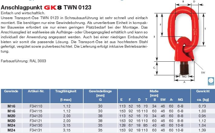 Vázací bod TWN 0123 - k šroubování, otočný s okem