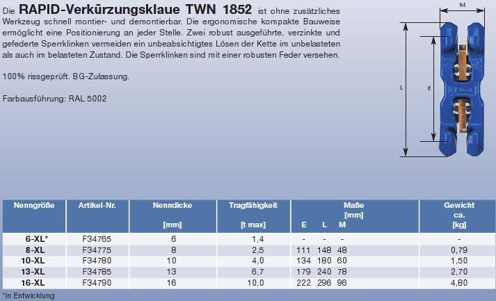 TWN 1852 XL - dvojitá zkracovací čelist, třída 10, modrý lak