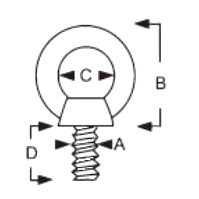 Nerezový šroub se zvýšeným okem - AISI316