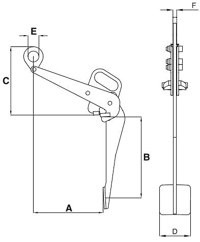 Zvedací svěrka na sudy IPDV - CROSBY-rozměry-