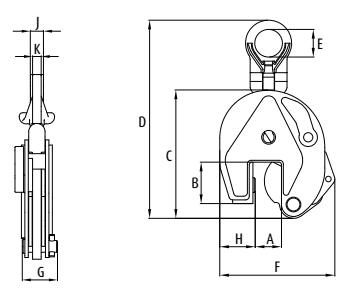 Vertikální zvedací svěrka IPU10-S s univ. kloubovým okem - pro nerezové plechy - CROSBY