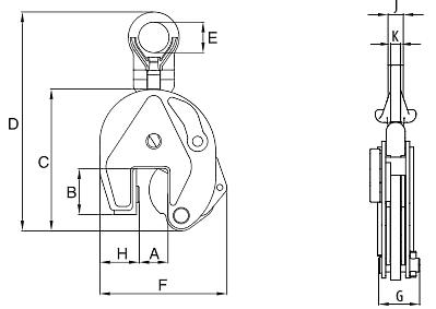Vertikální zvedací svěrka IP10 s jednoduchým okem - pro nerezové plechy - CROSBY