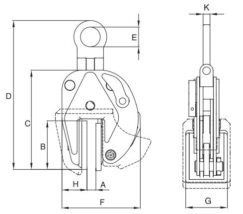 Vertikální zvedací svěrka IPNM10/N - CROSBY
