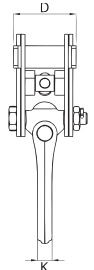 Zvedací svěrka na profily IPTKUD - CROSBY-rozměry